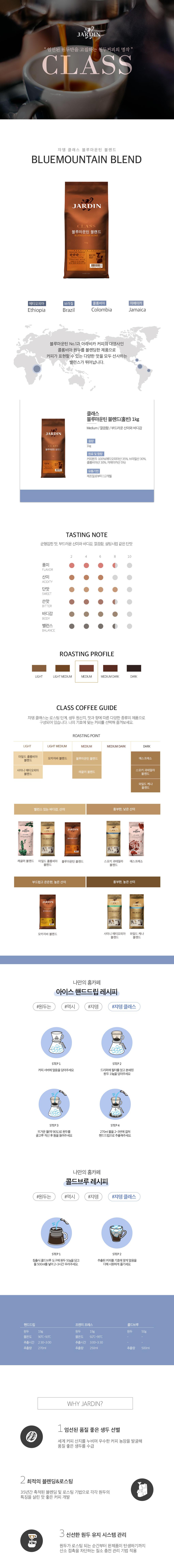 오피스히트 쟈뎅 미분쇄 커피 블루마운틴 블렌드 홀빈 1kg