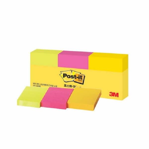 3M 포스트-잇® 강한점착용 노트 653-3 형광(그리움노랑,핫핑크,새싹그린)