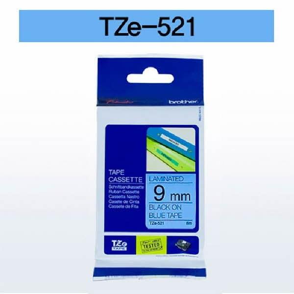 브라더 테이프카트리지(TZe-521/9mm/청색/흑색문자)