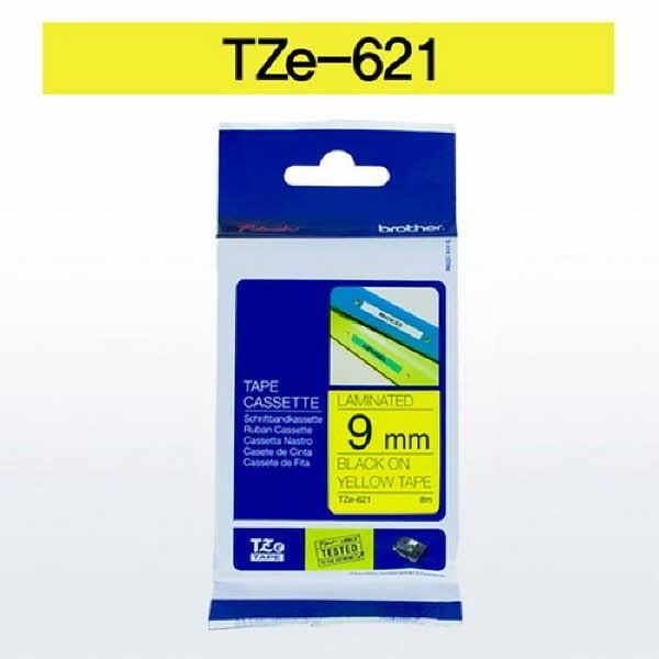브라더 테이프카트리지(TZe-621/9mm/노랑/흑색문자)