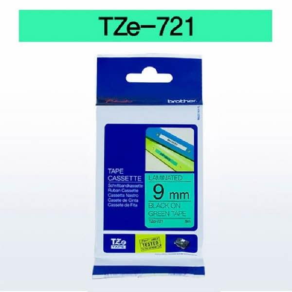 브라더 테이프카트리지(TZe-721/9mm/녹색/흑색문자)