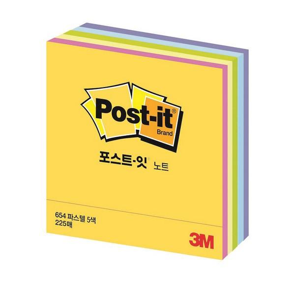 3M 포스트-잇® 노트 CT-33(파스텔)(45장/5색상,76x76mm)