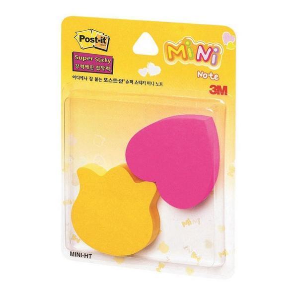 3M 포스트-잇® 강한점착용 미니 2패드 HT(하트/튤립)(90매2패드,노랑+핫핑크)