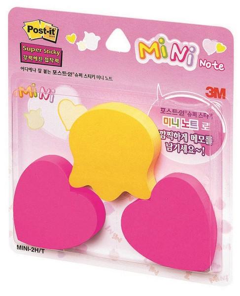 3M 포스트-잇® 강한점착용 미니 3패드 2HT(하트/튤립)(90매3패드,노랑+핫핑크)