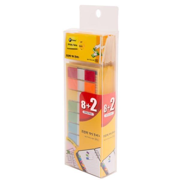 프린텍 FO4412-9 스티키노트 팝업플래그 오피스팩 9색 8+2 44*12 10매(44x12mm, 10매)