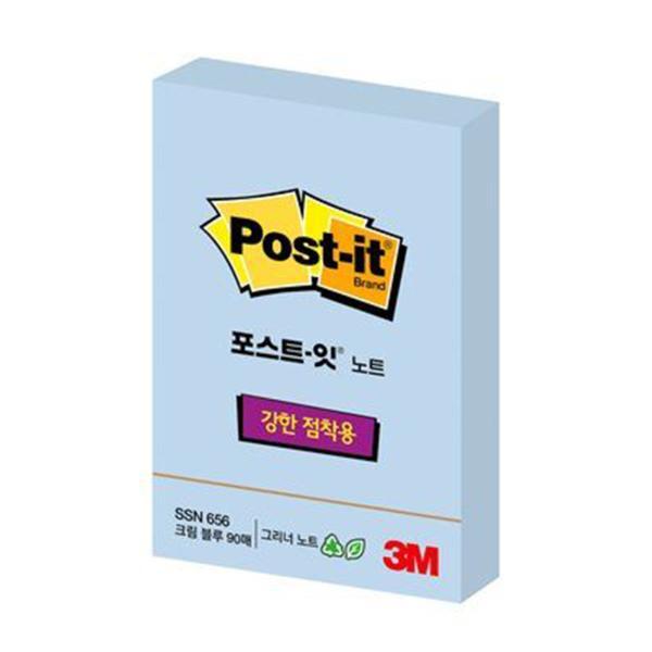 3M 포스트-잇® 강한점착용 Greener 노트 656 크림블루(친환경슈퍼스티키,51x76mm, 90매)