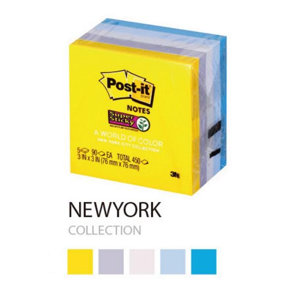 3M 포스트-잇® 강한점착용 654-5SSNY 뉴욕(76x76mm,총450장,5패드)
